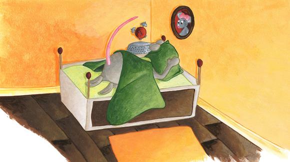illustration souris qui se réveille