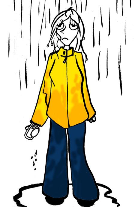 Dinett en ciré mouillée sous la pluie