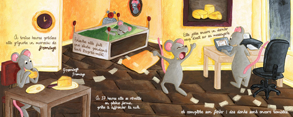 La petite souris mange, fait la sieste et se réveille