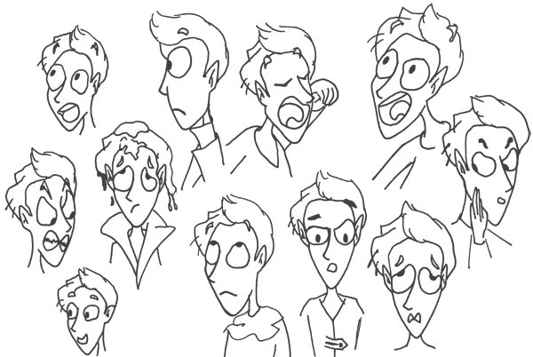 recherche, croquis expressions personnages