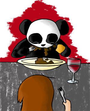 Panda se goinfre, mange comme un ogre