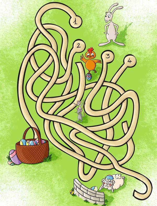 Labyrinthe, aide lapinou à trouver le bon chemin jusqu'à son panier d'oeufs