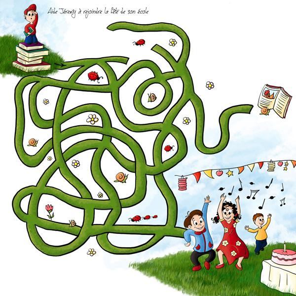 Jeux pour enfant labyrinthe aide jeremy à rejoindre ses amis