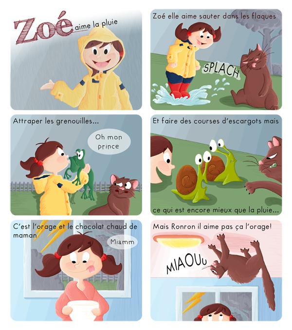 BD jeunesse Zoé aime la pluie mais pas son chat