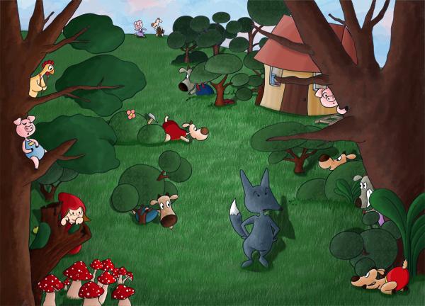 Jeux cherche et trouve aide le loup à retrouver