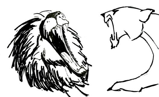 Dessin au feutre de lion et lionne