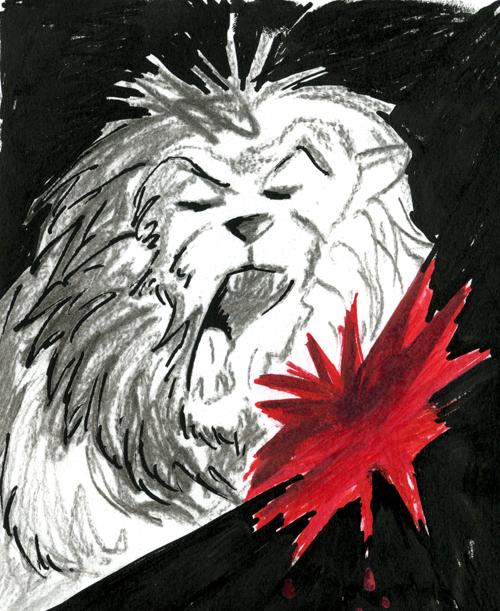 Dessin crayon, fusain, feutre lion