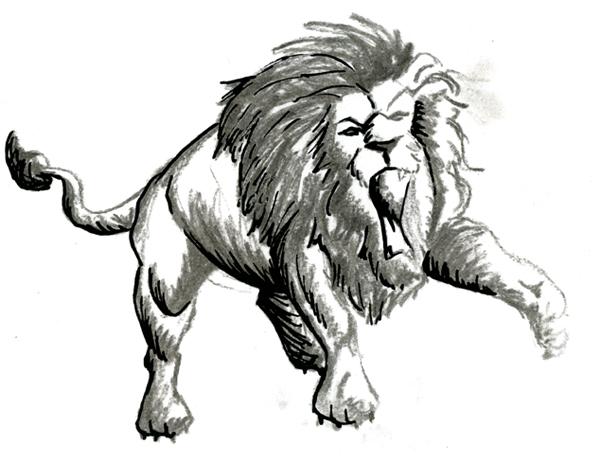 Dessin au fusain et au feutre de lion