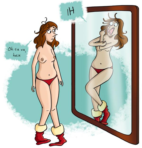 Se regarder dans le miroir, se faire peur dans le miroir