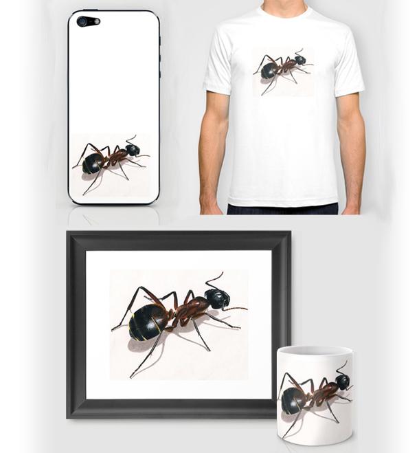Tee shirt, mug, peinture cadre, etui iphone fourmi animaux