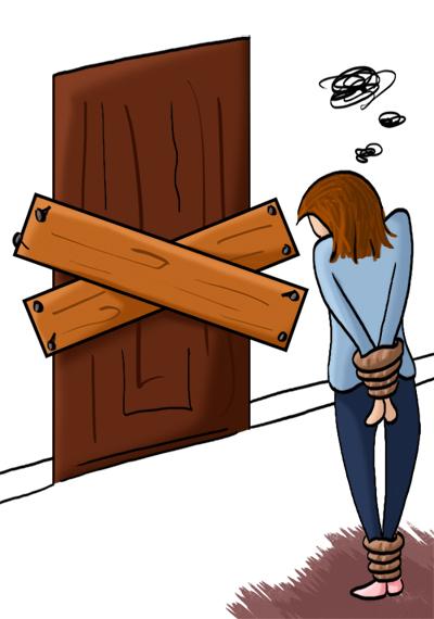 Prisonnière, porte fermée