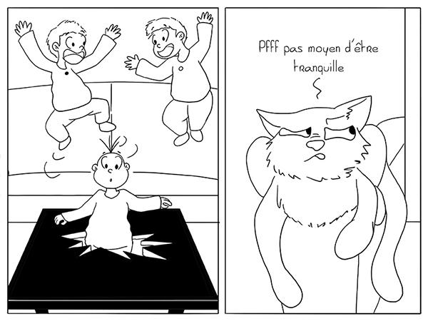 Le chat déranger par le bruit des enfants