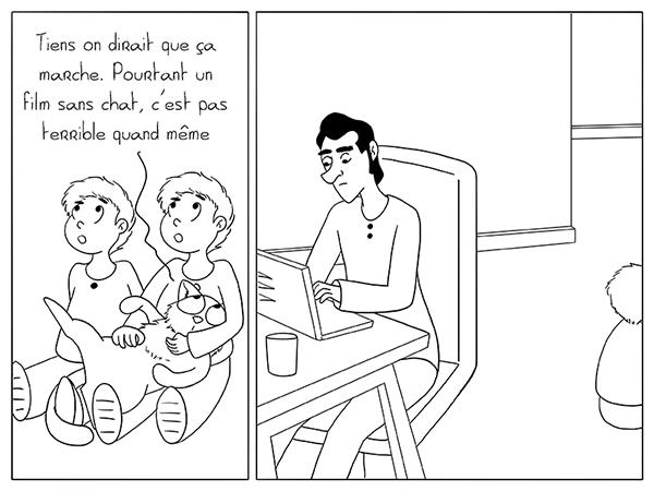 Travailler pendant que les enfants et le chat regarde la TV