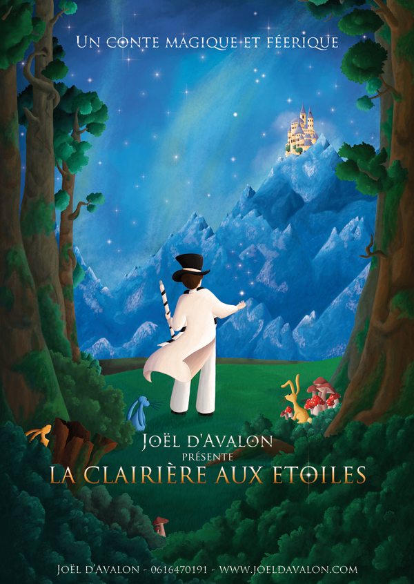 Affiche spectacle de magie la clairières aux étoiles