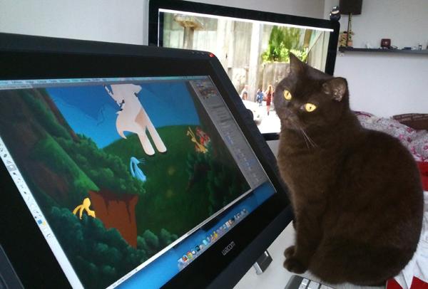 illustration, peinture numérique, chat dans les pattes quand je travaille