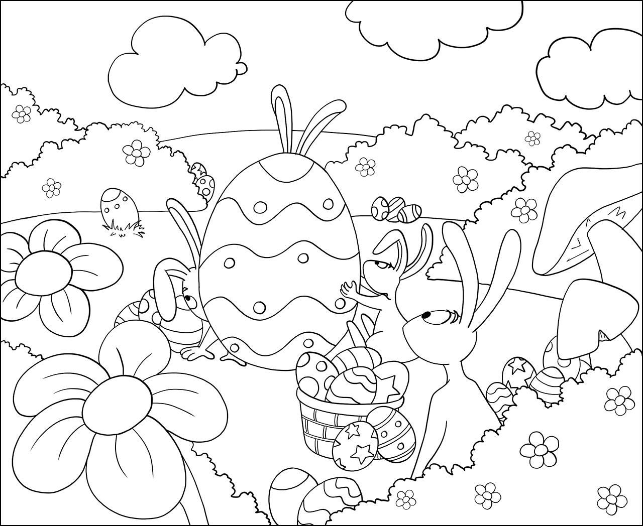 jeux pour enfant coloriage de lapins et d 39 oeufs de paques. Black Bedroom Furniture Sets. Home Design Ideas