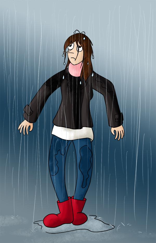 Sous la pluie comme un chien mouillé, trempée sous la pluie, giboulet de mai