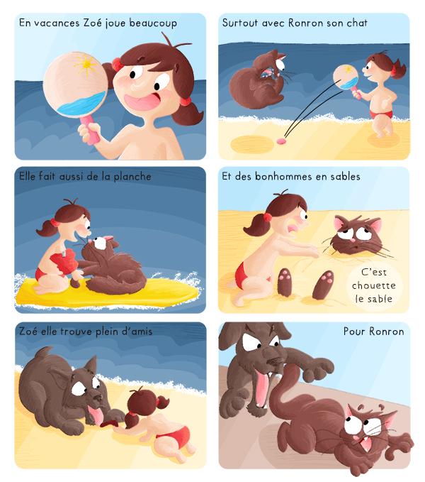 BD jeunesse Zoé en vacance joue à la plage