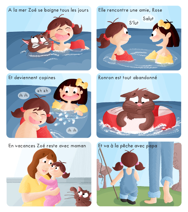 BD jeunesse Zoé s'amuse dans l'eau et avec ses parents