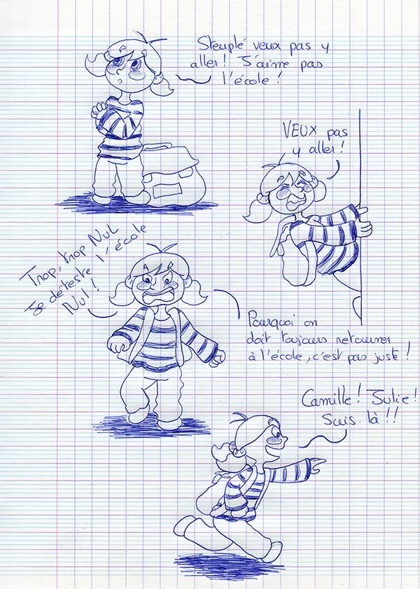 Bd Zoe ne veut pas aller à l'école dessin au stylo bille