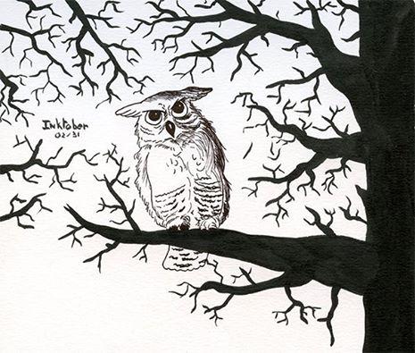 inktober 2014 dessin à l'encre, un hibou dans la foret - owl