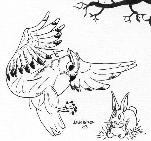 inktober 2014 owl ink