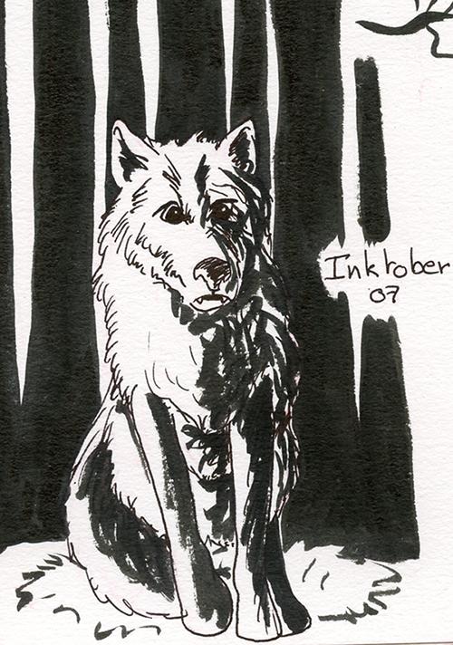 inktober 7 octobre loup