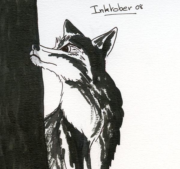 inktober 8 octobre loup curieux
