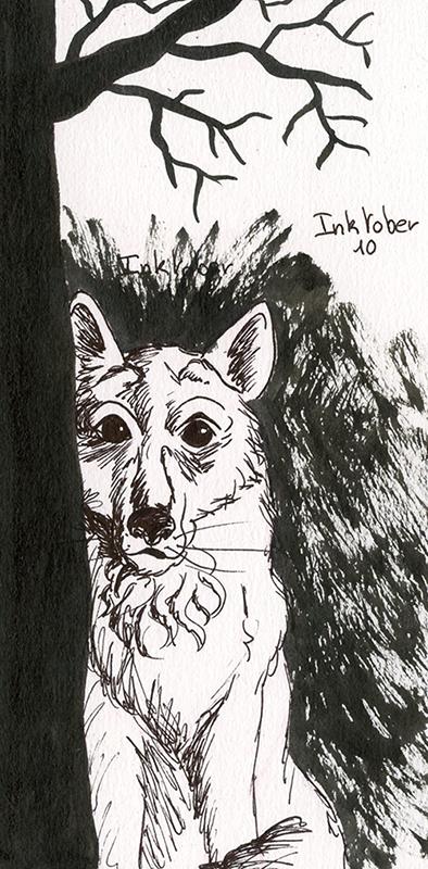 inktober 10 octobre loup
