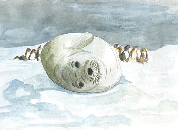 Recherche à l'aquarelle illustration animal phoque