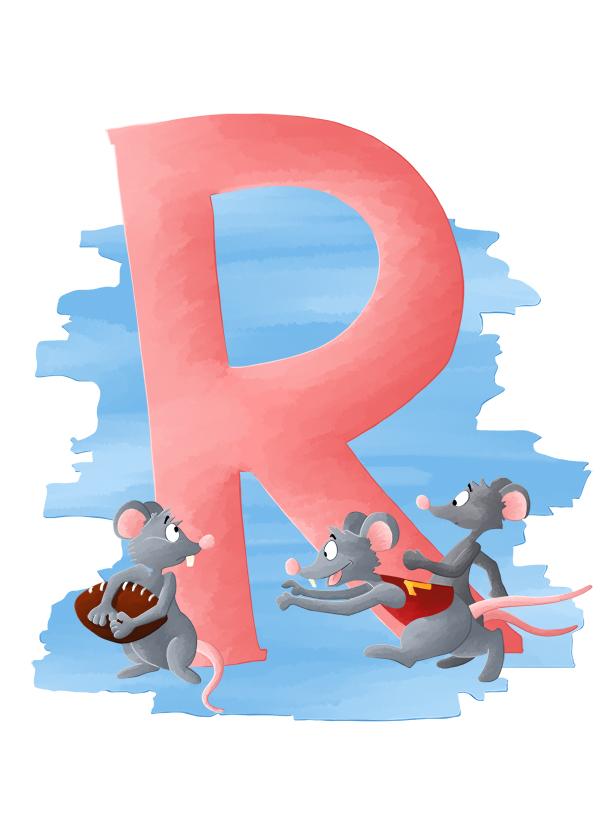 Abécédaire animalier R comme rats jouant au rugby