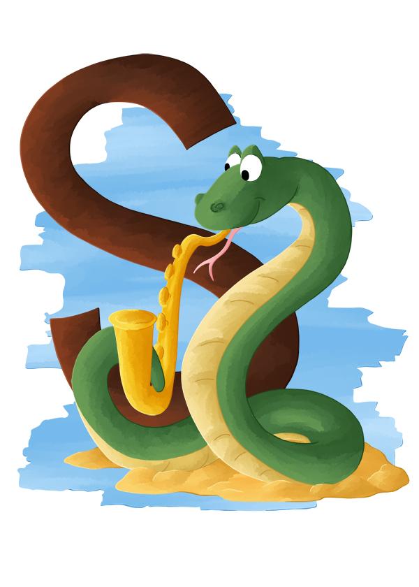 S comme serpent qui joue du Saxo