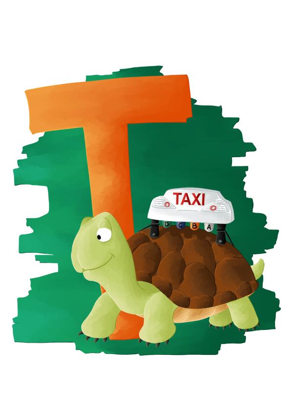 Abécédaire animalier t comme tortue taxi