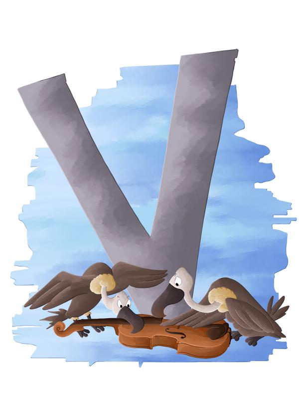 Abécédaire animalier V comme des vautours sur le cadavre d'un violon