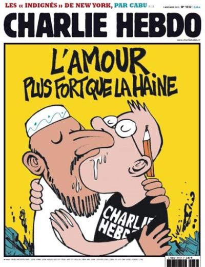 Une Charlie Hebdo l'amour est plus fort que la haine