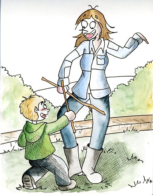 Jouer au chevalier avec ses enfants et ses neveux