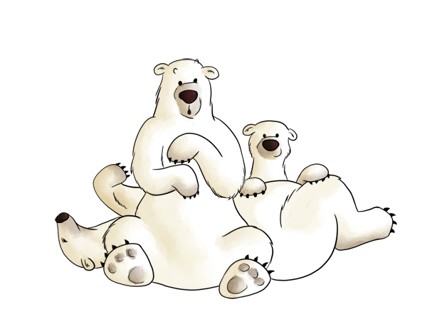 Illustration animale ours blanc dessin couleurs