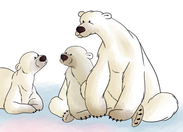 Illustration animale famille ours polaire dessin animé