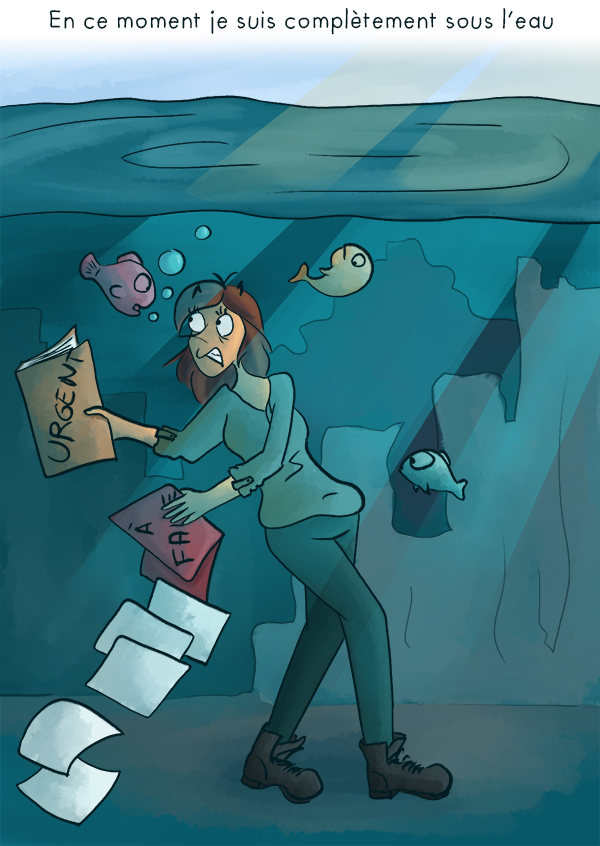 Etre sous l'eau omplètement débordé par son travail