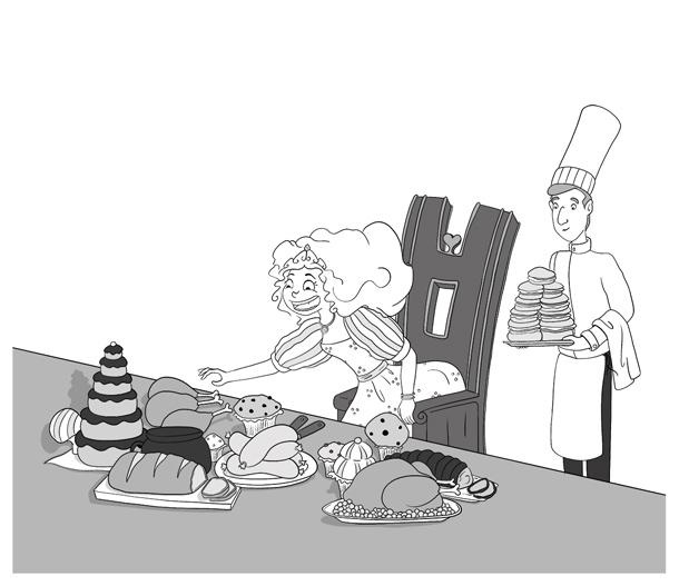 Illustration noir et blanc la princesse affamée