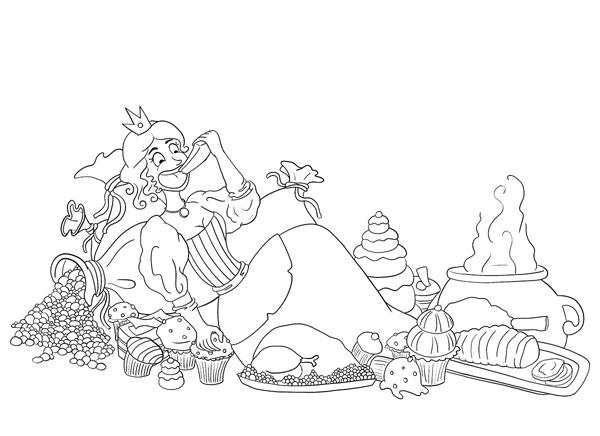Illustration au trait la princesse affamée