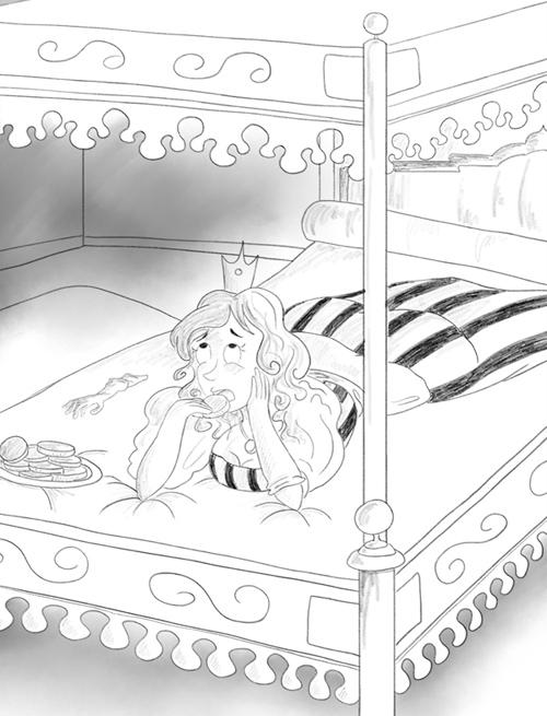 Illustration noir et blanc une princesse s'ennuie