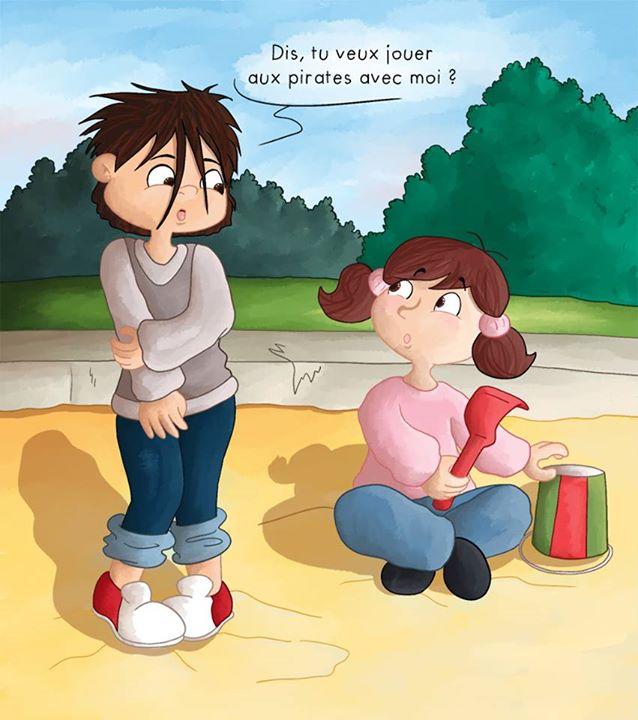 2 enfants jouent au bas à sable