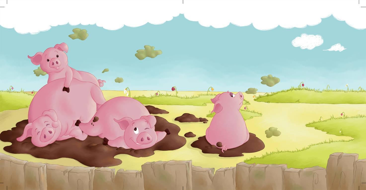 Illustration jeunesse petits cochons dans la boue