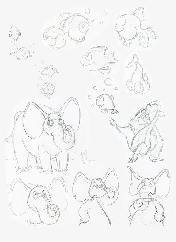 Recherches animaux poissons character design éléphant