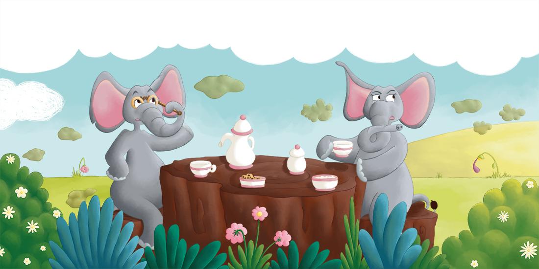 Illustration les éléphants prennent le thé extrait album C'est qui qu'a pété ?