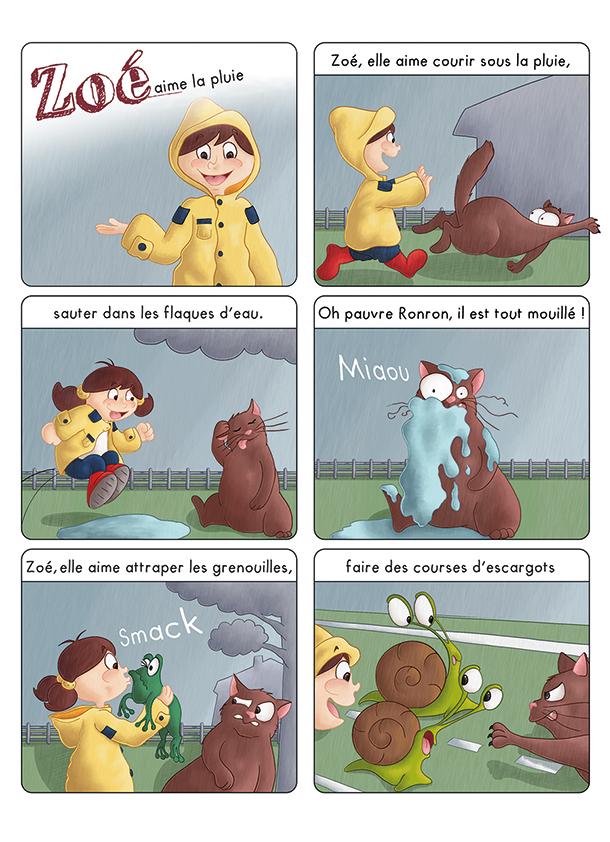 BD jeunesse les aventures de Zoé sous la pluie