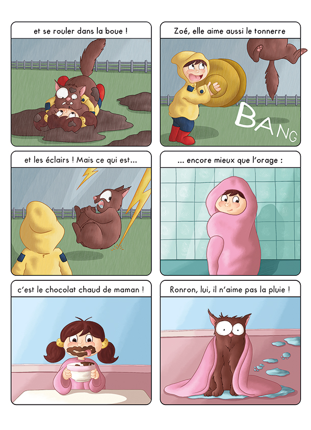 BD pour enfant les aventures de Zoé sous la pluie