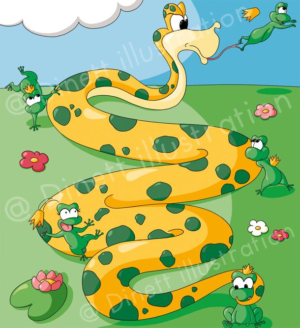 Serpent attaque grenouille sauve qui peut