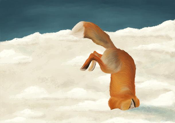Illustration animale renard dans la neige